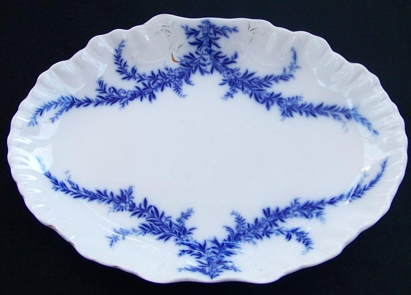 Antique Burgess Leigh Dresden Platter Flow Blue 15 inch1896