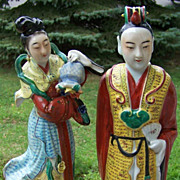 2 Famille Rose Figurines Man Woman China