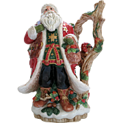 Vintage Fitz Floyd Christmas Lodge Santa Pitcher 12 inches ca 1990
