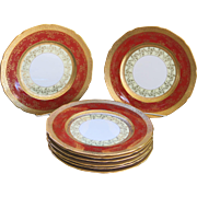 6 Vintage Gold Encrusted Service Plates Unused Chargers 1940s Gilt