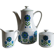 3 Piece Mod Pop Demitasse Set MIJ Japan Blue Green