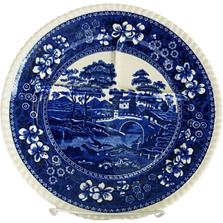 Vintage Copeland Spode Tower Toast Plate Divided Blue Gadroon Rim