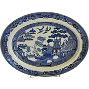 Vintage Wedgwood Willow Oval Platter Blue Medium Size