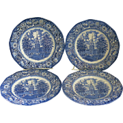 4 Vintage Liberty Blue Dinner Plates Staffordshire Ironstone Independence Hall