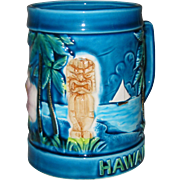 Vintage Hawaii Blue Tiki Mug MIJ Japan 1960 Palm Trees Hibiscus Sailboat