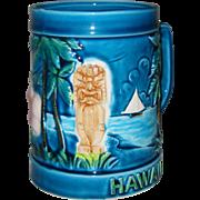 Vintage Hawaii Blue Tiki Mug MIJ Japan 1960 Palm Trees Hibiscus Sailboat