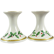 Vintage Lenox Holiday Flared Candlesticks Pair Set Holly Dimension