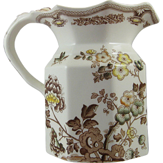 Vintage Mason's Brown Aesthetic Manchu Pitcher Ironstone Jug  6.25 inches