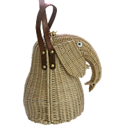 Vintage Marcus Wicker Figural Elephant Purse Leather Brass Accents  10.5 inches tall