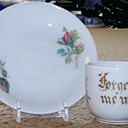 Moss Rose Souvenir Cup and Saucer ca. 1890 'Forget Me Not'