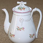 Haviland Limoges Moss Rose Coffee Pot w/ Pink and Gold Trim
