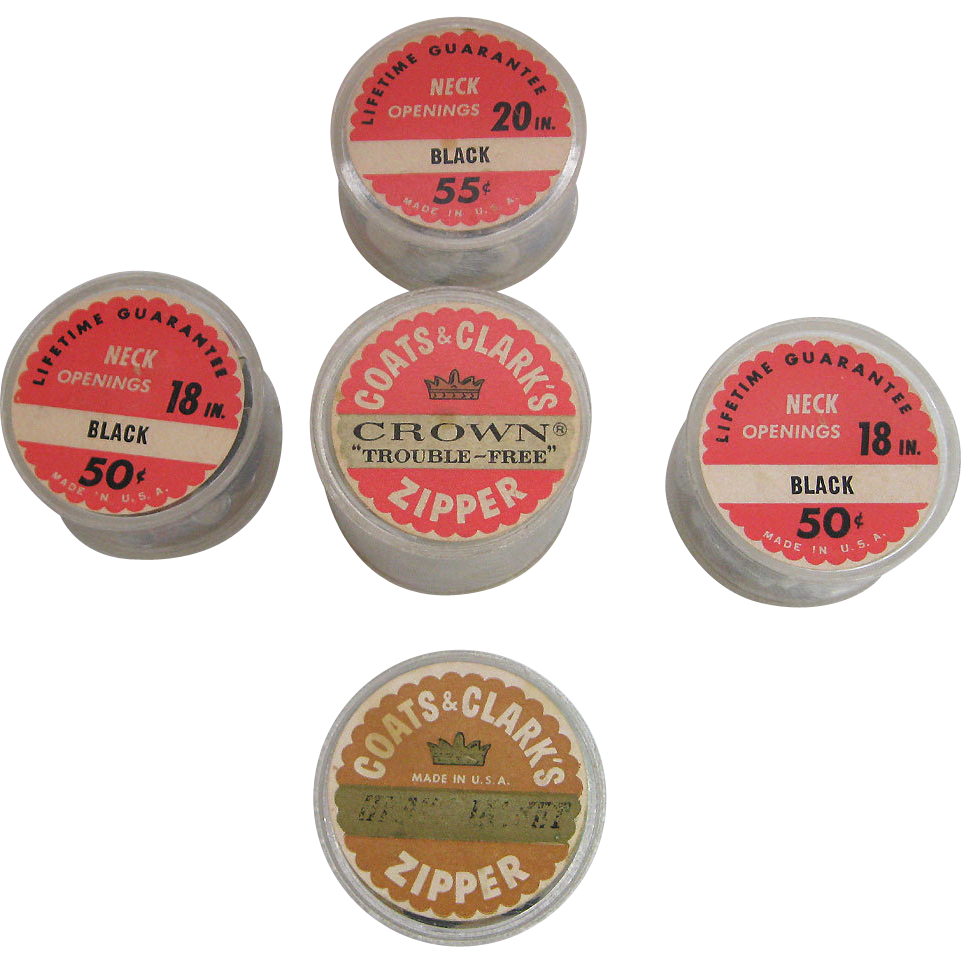 5 Vintage Coats & Clark Zipper Package Advertising Containers Buttons Inside