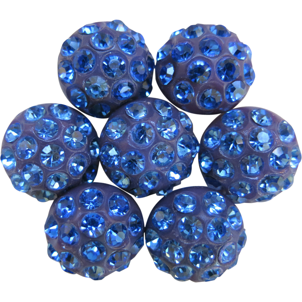 Set 7 Purple Shank Buttons Blue Rhinestones .75 inch