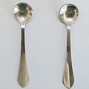 2 Sterling Silver Salt Spoons Matched Pair SS 2.5 Inches