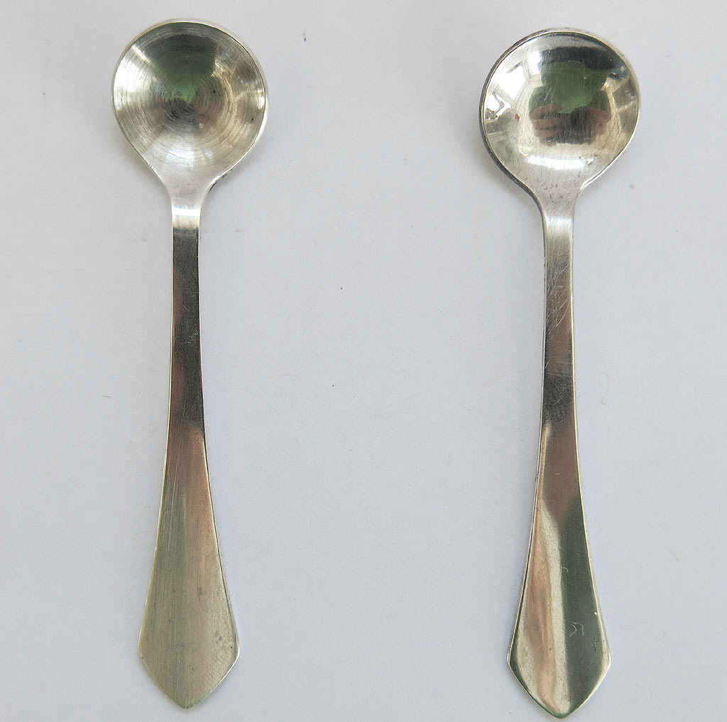 2 Sterling Silver Salt Spoons Matched Pair