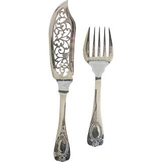 Antique Henniger Silver Plate Fish Set Germany Silverplate Serving Set
