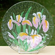Sydenstricker Art Glass Iris Flower Plate Pink and Yellow Irises  5 Available 8.5 inches