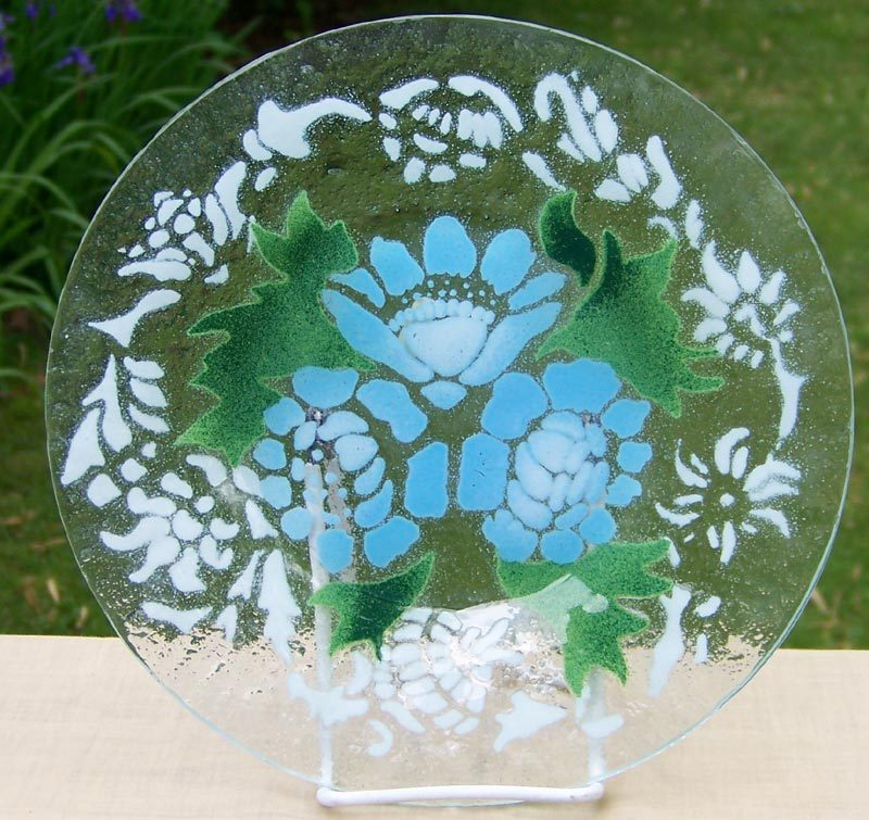 Sydenstricker Art Glass Floral Plate  - Blue Roses w/ White Accents