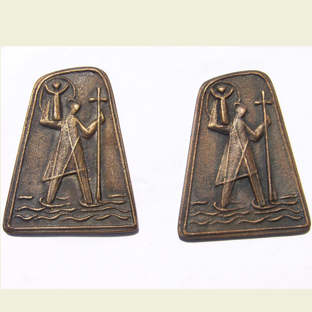2 Saint Christopher Bronze Plaques Matched Pair Modernist