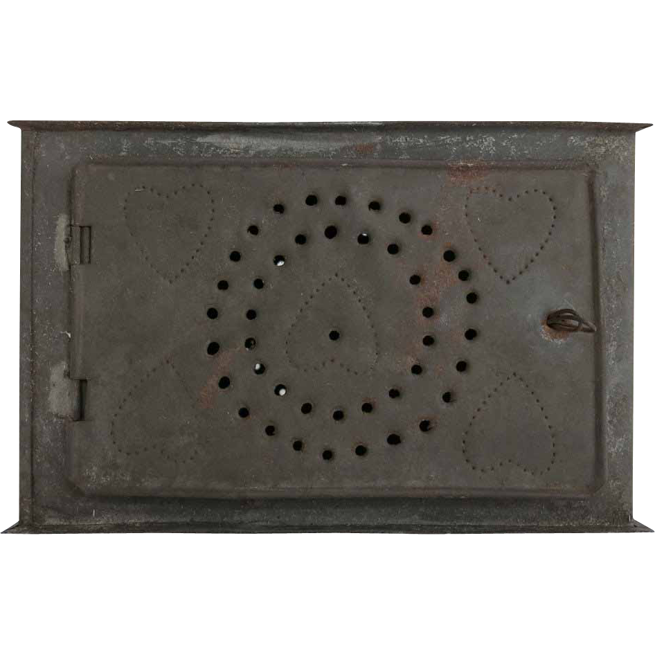 Antique Foot Warmer Insert Hearts Circles Primitive Punched Tin Farmhouse Decor