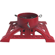 Vintage Cast Iron Christmas Tree Stand Red