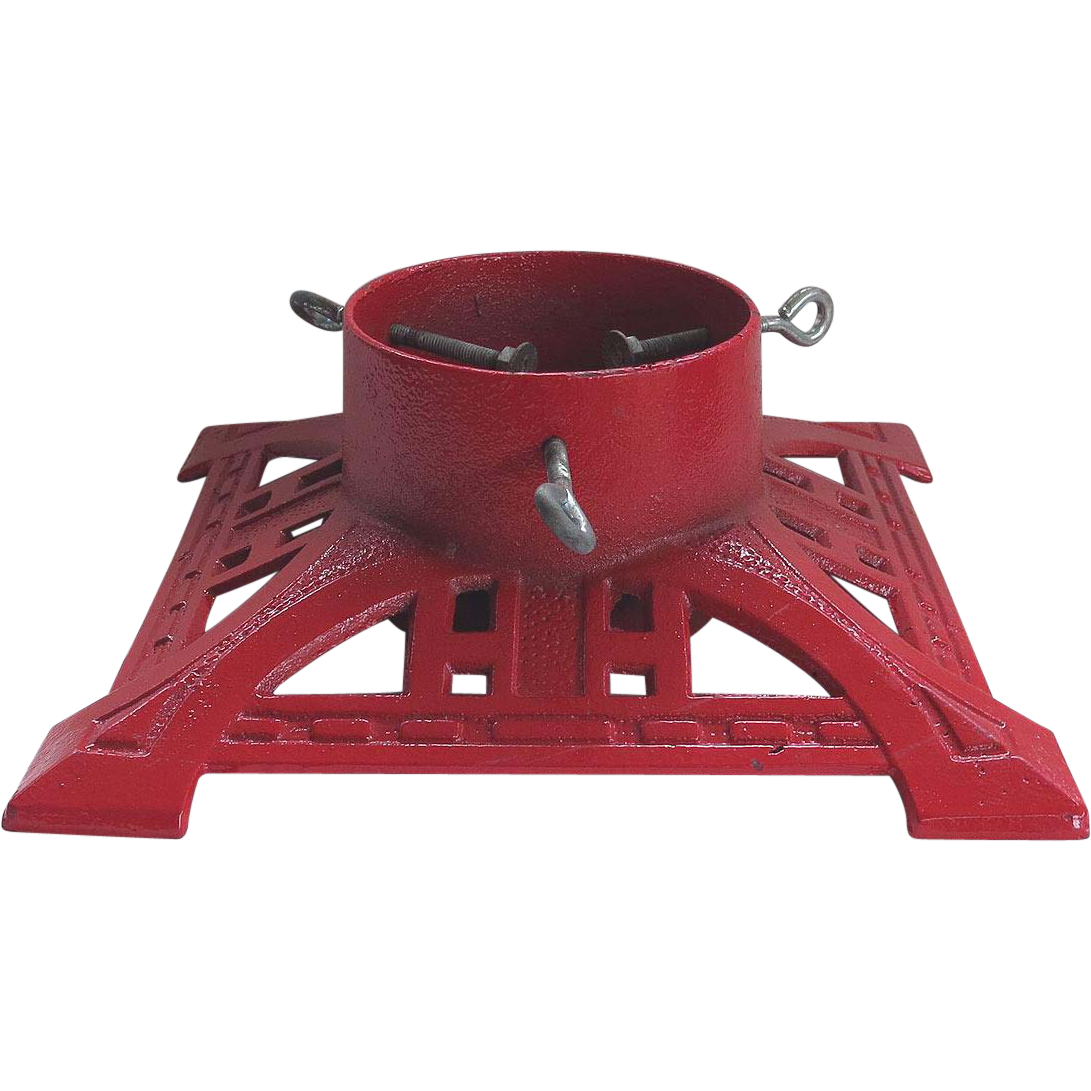 vintage cast iron christmas tree stand red - Christmas Tree Stands