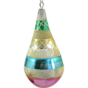 Vintage Blown Glass Christmas Ornament Teardrop Shape Mica Pontil