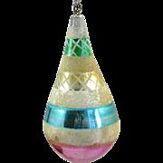 Vintage Blown Glass Christmas Ornament Teardrop Shape Mica Pontil