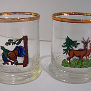 6 Vintage Barware Wildlife Glasses