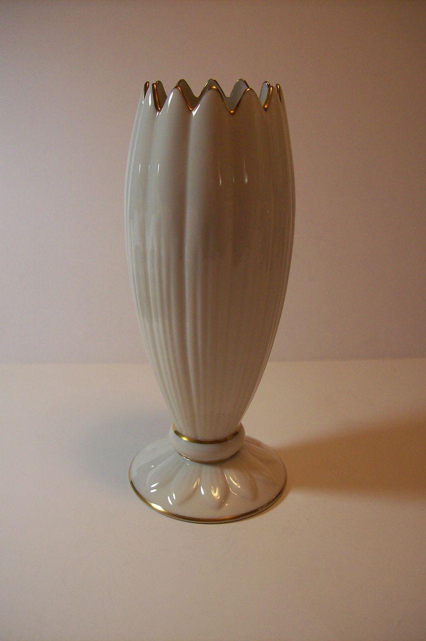 Vintage Lenox Vase Ivory Color 9 Quot Gold Edging Sold On Ruby Lane