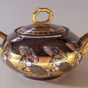 Antique Hand Painted Jean Pouyat Limoge Sugar Bowl - Heavy Gold