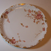 "Antique Haviland 11"" Embossed Platter - Roses & Gold Daubs"