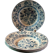 "Antique Staffordshire ""Onion"" 9"" Soup Bowls"