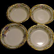 Four J P L (Jean Pouyat) Limoge France Hand Painted Porcelain Saucers