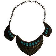 Vintage Navajo Turquoise & Sterling Necklace