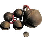 5 Vintage Brass Sleigh Bells (India) - One very large bell.