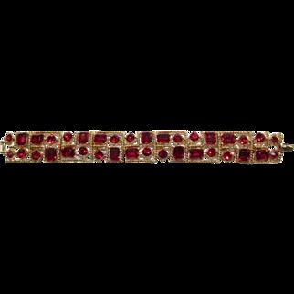 "Vintage Red Rhinestone ""LISNER"" Bracelet"