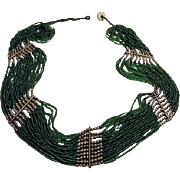 Vintage Flapper Green Seed Bead Necklace (Circa 1920-1930'S)