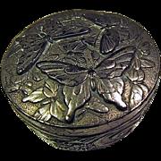 """Vintage 2"""" Round Metal Box - Embossed Butterflies"""