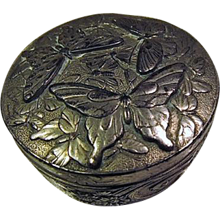 "Vintage 2"" Round Metal Box - Embossed Butterflies"