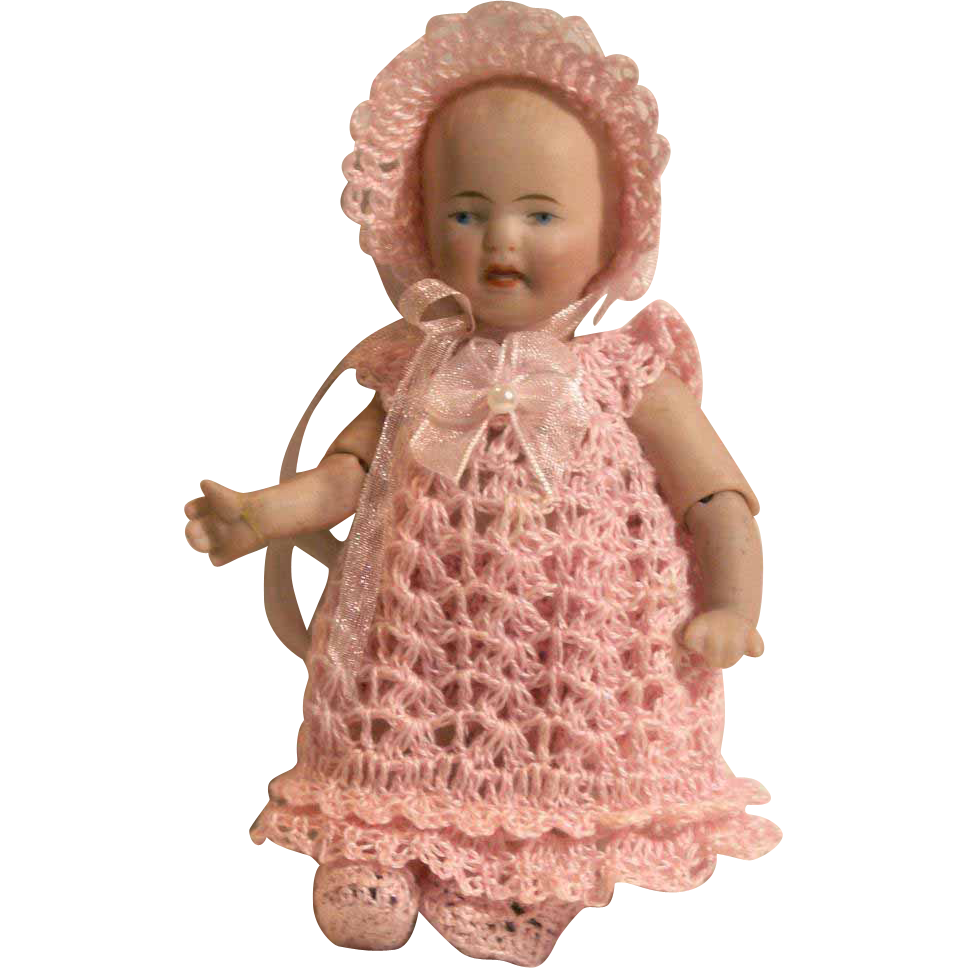 "Doll Christening Set for 5"" - 6"" All Bisque Baby Doll in Hand Crochet Doll Clothing"