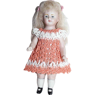 """Doll Dress for 3.5""""-4.5"""" All Bisque Miniature Mignonette Dollhouse Doll Heirloom Crochet"""