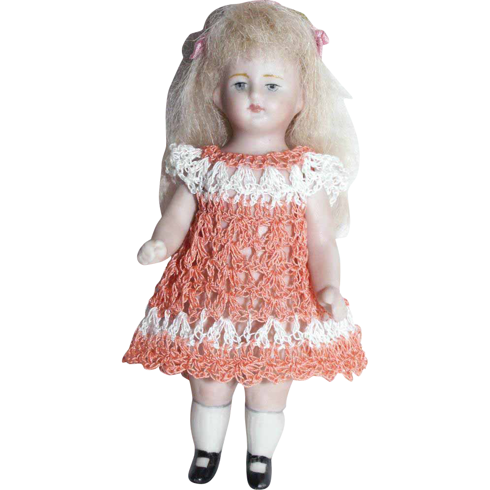 "Doll Dress for 3.5""-4.5"" All Bisque Miniature Mignonette Dollhouse Doll Heirloom Crochet"