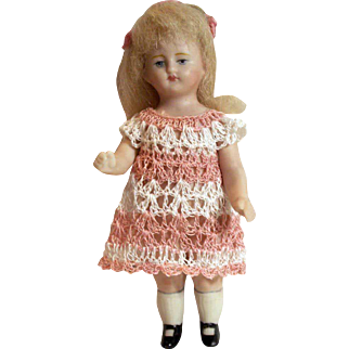 """Doll Dress for 3-4.5"""" All Bisque Miniature Mignonette Dollhouse Doll Heirloom Crochet"""