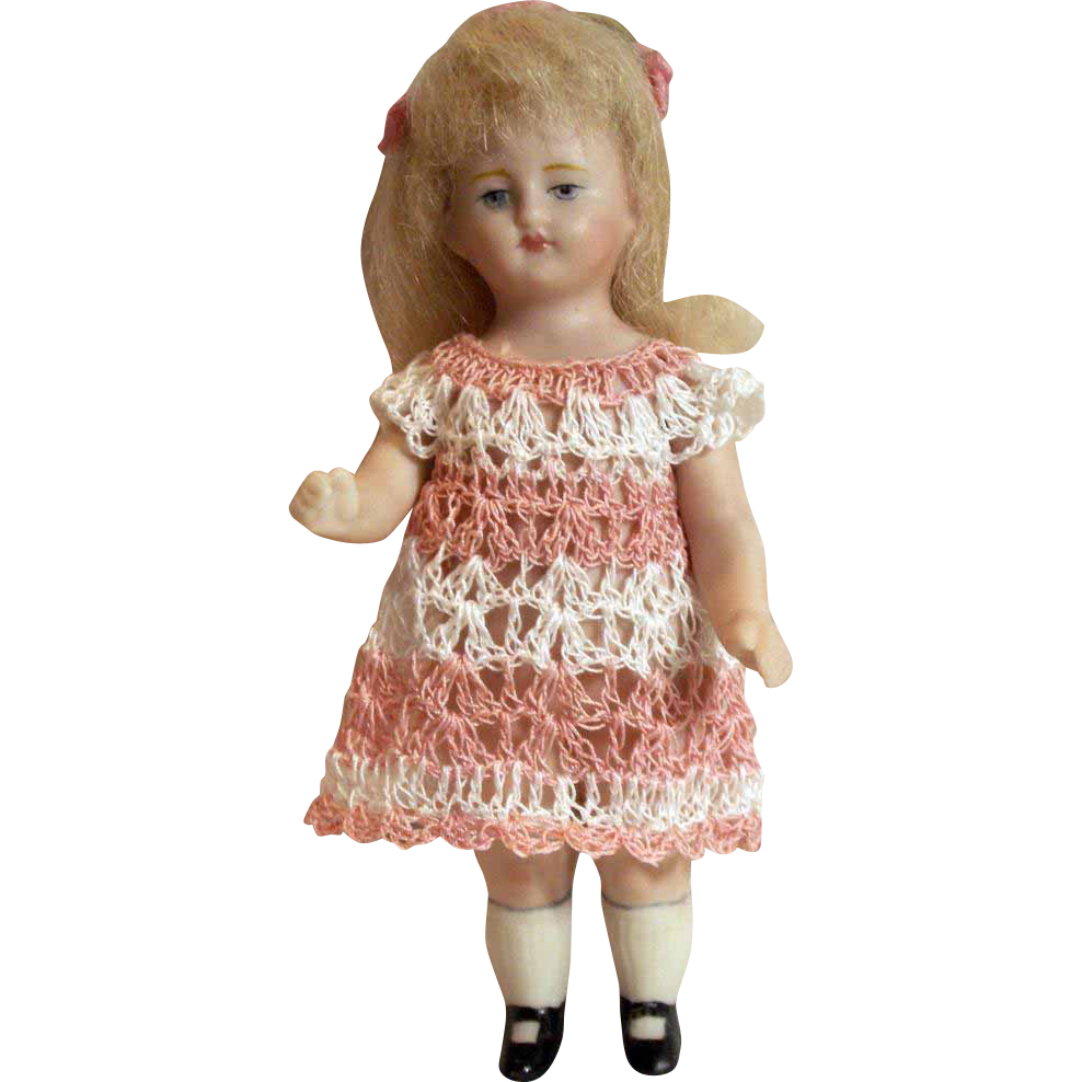 "Doll Dress for 3-4.5"" All Bisque Miniature Mignonette Dollhouse Doll Heirloom Crochet"