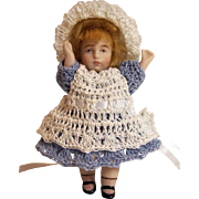 "Doll Dress, Pinafore, Bonnet & Bloomers  for Miniature All Bisque 3"" - 3.5"" Mignonette Alice in Wonderland Set"
