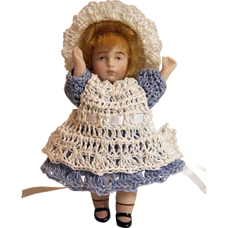 """Doll Dress, Pinafore, Bonnet & Bloomers  for Miniature All Bisque 3"""" - 3.5"""" Mignonette Alice in Wonderland Set"""