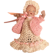 "Doll Dress, Sweater, Bonnet Pants, Booties Christening Set for 5"" - 6"" All Bisque Baby Doll"