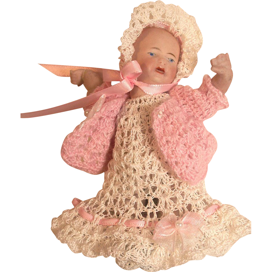 """Doll Dress, Sweater, Bonnet Pants, Booties Christening Set for 5"""" - 6"""" All Bisque Baby Doll"""