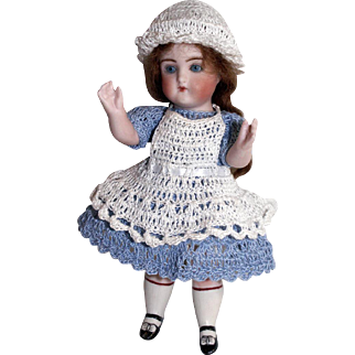 """Doll Dress, Pinafore, Bonnet & Bloomers Alice in Wonderland Set for Miniature All Bisque 5"""" - 6.5"""" Mignonette Doll"""